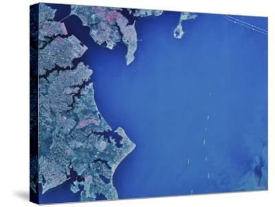 Satellite Image of Chesapeake Bay and Annapolis, Maryland-Stocktrek Images-Stretched Canvas Print