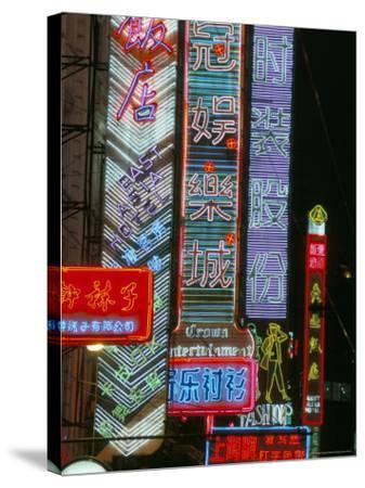 Neon Signs at Night, Nanjing Road, Shanghai, China-Charles Bowman-Stretched Canvas Print