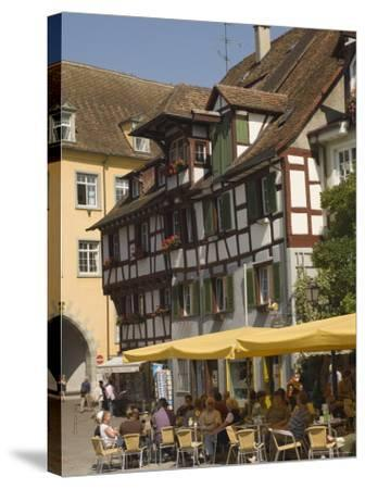 Pavement Cafe in Main Square, Meersberg, Lake Constance, Germany-James Emmerson-Stretched Canvas Print