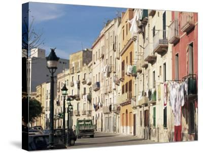 House Fronts and Laundry, Trapani, Sicily, Italy-Ken Gillham-Stretched Canvas Print