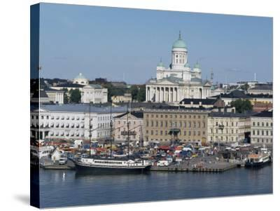 Harbour with Lutheran Cathedral Rising Behind, Helsinki, Finland, Scandinavia-Ken Gillham-Stretched Canvas Print