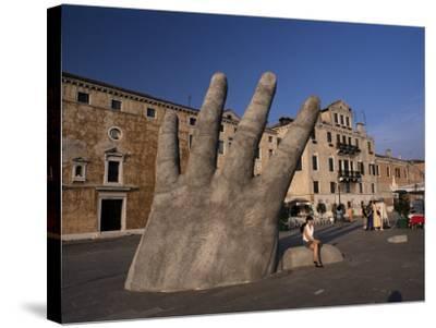 Stone Sculpture of Hand on Riva Degli Schiavoni, Venice, Veneto, Italy-Gavin Hellier-Stretched Canvas Print