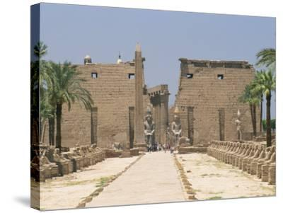 Avenue of Sphinxes Looking Towards Statues of Ramses II, Luxor Temple, Luxor, Thebes, Egypt-Gavin Hellier-Stretched Canvas Print