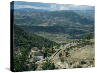 Small Farm in Foreground and Vjosa Valley Beyond, Albania-David Poole-Stretched Canvas Print
