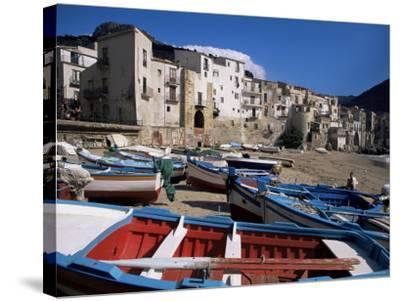 Fishing Harbour and Porta Pescara Beyond, Cefalu, Island of Sicily, Italy, Mediterranean-Julian Pottage-Stretched Canvas Print