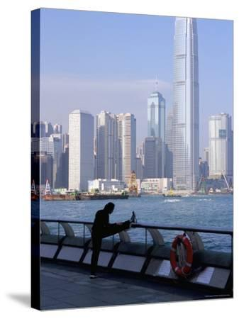 Morning Exercise, Victoria Harbour and Two Ifc Tower, Hong Kong, China-Amanda Hall-Stretched Canvas Print