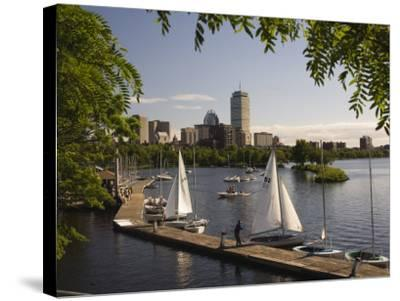Boating on the Charles River, Boston, Massachusetts, New England, USA-Amanda Hall-Stretched Canvas Print