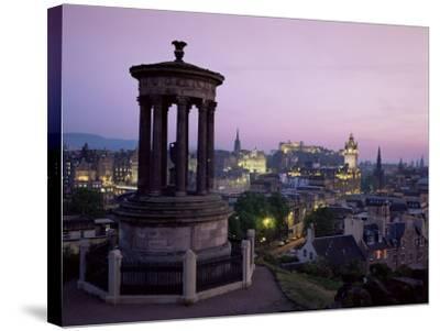 Stewart Monument and Princes Street, Edinburgh, Lothian, Scotland, United Kingdom-Roy Rainford-Stretched Canvas Print