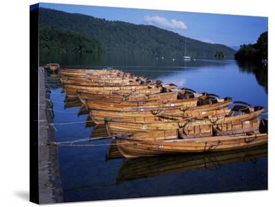 Rowing Boats on Lake, Bowness-On-Windermere, Lake District, Cumbria, England, United Kingdom-David Hunter-Stretched Canvas Print