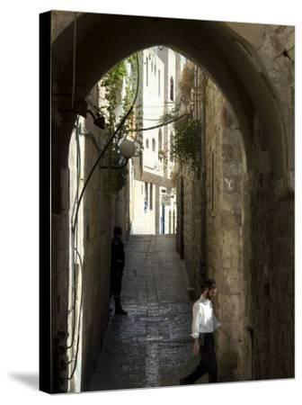 Jewish Man in Traditional Clothes, Old Walled City, Jerusalem, Israel, Middle East-Christian Kober-Stretched Canvas Print