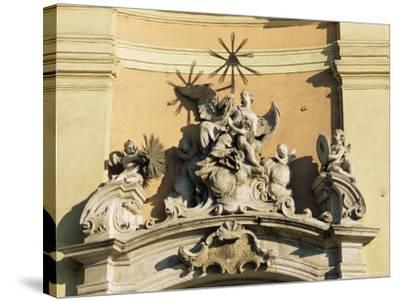 Facade Detail of City's Finest Baroque Church of Holy Trinity, Bratislava, Slovakia-Richard Nebesky-Stretched Canvas Print