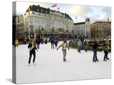 Hotel d'Angleterre and Skating Rink, Kongens Nytorv at Christmas, Copenhagen, Denmark-Sergio Pitamitz-Stretched Canvas Print