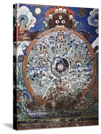 Wheel of Life Wall Art, Hemis Gompa (Monastery), Hemis, Ladakh, Indian Himalaya, India-Jochen Schlenker-Stretched Canvas Print