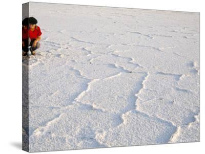 Salt Flats Beside Lac Assal in Rift Valley 152M Below Sea Level, Afar Triangle, Djibouti, Africa-Tony Waltham-Stretched Canvas Print