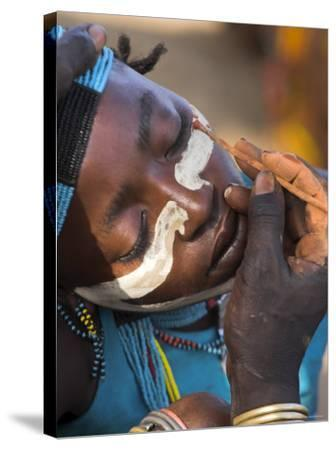 Face Painting with a Mixture of Clay, Turmi, Ethiopia-Jane Sweeney-Stretched Canvas Print
