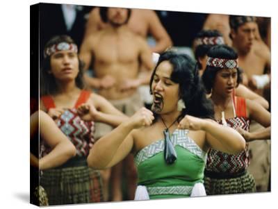 Maori Poi Dancers, Waitangi, North Island, New Zealand-Julia Thorne-Stretched Canvas Print