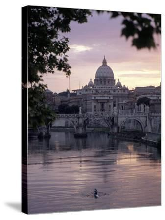 Skyline of St. Peter's from Ponte Umberto, Rome, Lazio, Italy-Adam Woolfitt-Stretched Canvas Print