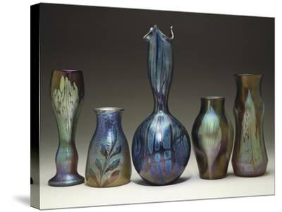 A Collection of Iridescent Glass Vases by Loetz-Adler & Sullivan-Stretched Canvas Print