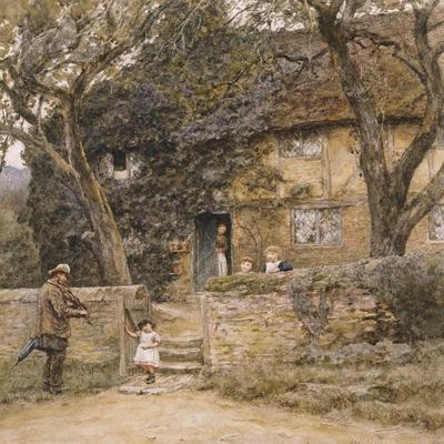 The Fiddler-Helen Allingham-Stretched Canvas Print