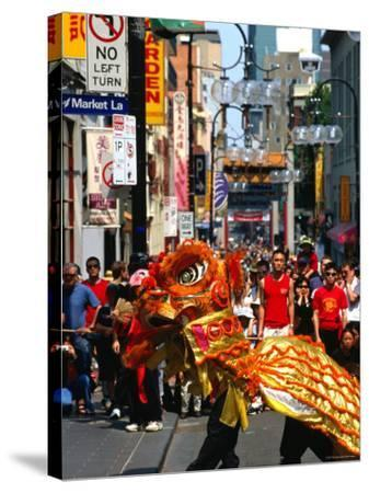 Dragon Dance During Chinese New Year, Chinatown, Melbourne, Victoria, Australia-Greg Elms-Stretched Canvas Print