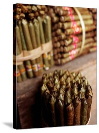 Burmese Cheroots at Market Stall, Myanmar-Anthony Plummer-Stretched Canvas Print