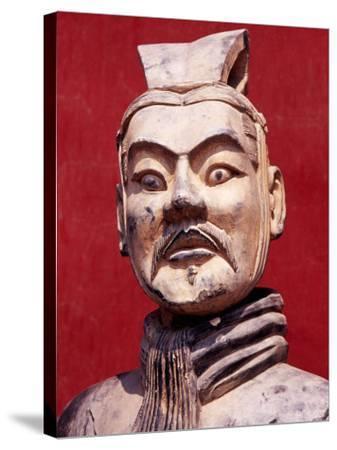 Replica Terracotta Warrior Outside Drum Tower, Beijing, China-Krzysztof Dydynski-Stretched Canvas Print