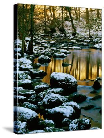River Rathay at Grasmere with Winter Snow on Rocks, Lake District National Park, Cumbria, England-David Tomlinson-Stretched Canvas Print