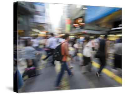 Rush Hour Commuters on Queens Road, Central, Hong Kong, Hong Kong, China-Greg Elms-Stretched Canvas Print