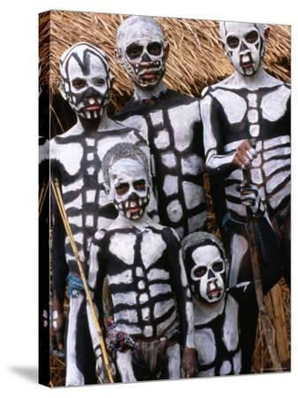 Sing Sing Group Members with Skeleton-Like Body Paint at Mt. Hagen Cultural Show, Papua New Guinea-John Banagan-Stretched Canvas Print