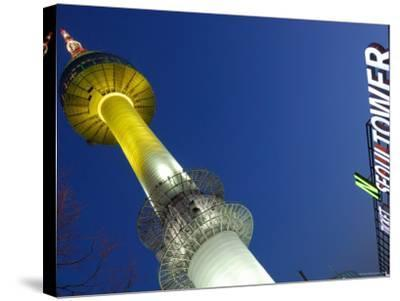Seoul Tower with Sign at Dusk, Namsan, Seoul, Seoul, South Korea-Anthony Plummer-Stretched Canvas Print