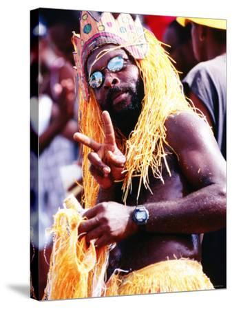 Man in Orange Costume, Crop-Over Festival, Bridgetown-Holger Leue-Stretched Canvas Print