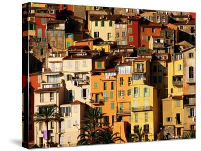 Colourful Houses Clustered on Hillside, Menton, Provence-Alpes-Cote d'Azur, France-David Tomlinson-Stretched Canvas Print