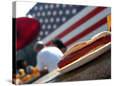 Hot Dogs at Nathan's, Coney Island, New York City, New York-Dan Herrick-Stretched Canvas Print