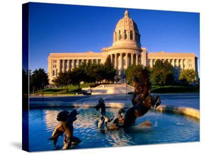 Fountain in Front of Missouri State Capitol Building, Jefferson City, Missouri-John Elk III-Stretched Canvas Print