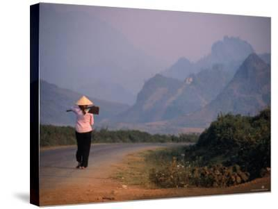 Farmer Makes Her Way to Field in Morning, Shouldering Hoe, Tam Duong, Lao Cai, Vietnam-Stu Smucker-Stretched Canvas Print