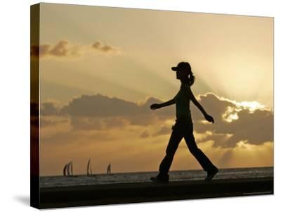 Sunset Walker, Honolulu, Hawaii-Marco Garcia-Stretched Canvas Print