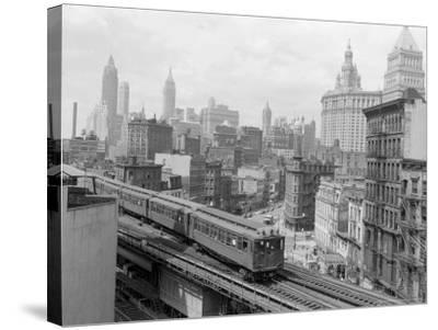 Third Avenue EL, New York, New York-John Lindsay-Stretched Canvas Print