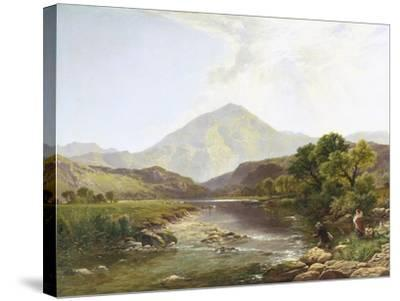 Moel Hebog from the Stepping Stone-Henry John Boddington-Stretched Canvas Print