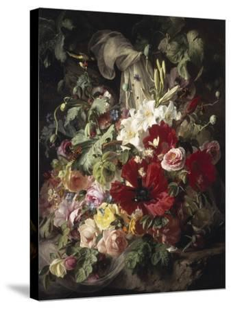 Still Life of Lilies, Poppies and Roses-Theud Gronland-Stretched Canvas Print