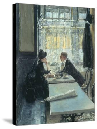 Lovers in a Cafe-Gotthardt Johann Kuehl-Stretched Canvas Print