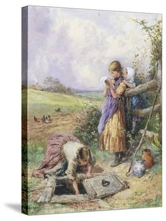 Reading by the Well-Myles Birket Foster-Stretched Canvas Print