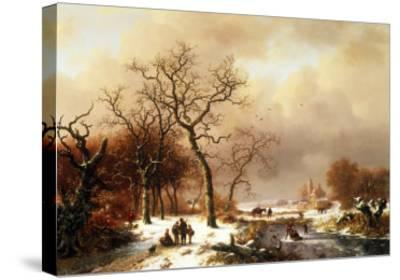 Meeting in the Snow-Frederik Marianus Kruseman-Stretched Canvas Print
