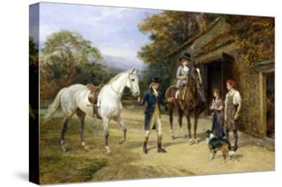 Casting a Shoe at the Blacksmith's-Heywood Hardy-Stretched Canvas Print