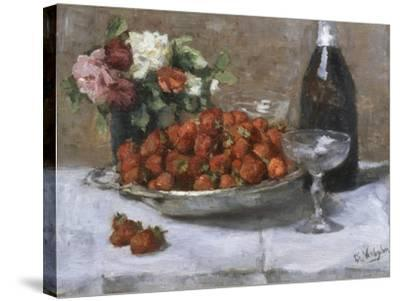 Still Life with Champagne and Strawberries-Isidor Verheyden-Stretched Canvas Print