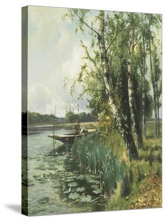 Fishing from a Punt-Arthur Walker Redgate-Stretched Canvas Print