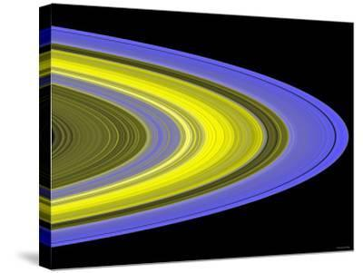False-Color Image of Saturn's Main Rings Made Using Cassini's Ultraviolet Imaging Spectrograph-Stocktrek Images-Stretched Canvas Print