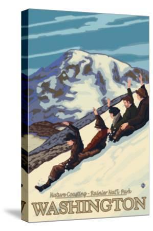 Nature Coasting, Mt. Rainier National Park, Washington-Lantern Press-Stretched Canvas Print