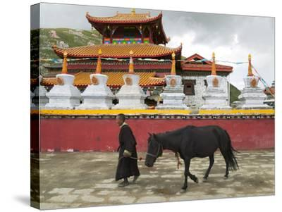 Tibetan Man with Horse in Tagong Monastery, Sichuan, China-Keren Su-Stretched Canvas Print