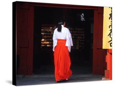Woman Enters the Tsurugaoka Hachimangu Shrine, Kamakura, Japan-Nancy & Steve Ross-Stretched Canvas Print