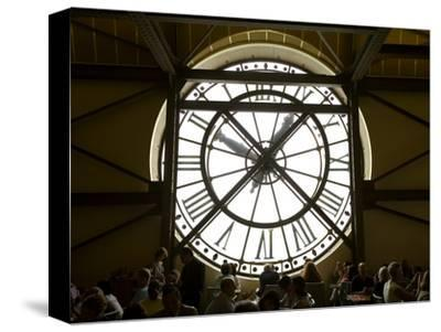 Diners Behind Famous Clocks in the Musee d'Orsay, Paris, France-Jim Zuckerman-Stretched Canvas Print